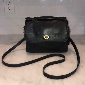 Vintage Coach Black Leather Court Crossbody Bag